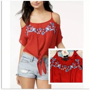 Polly & Esther Red Cold Shoulder Tie Up Shirt